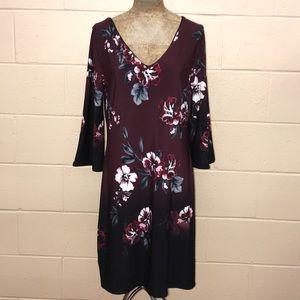 Floral print dress w/ kimono sleeves